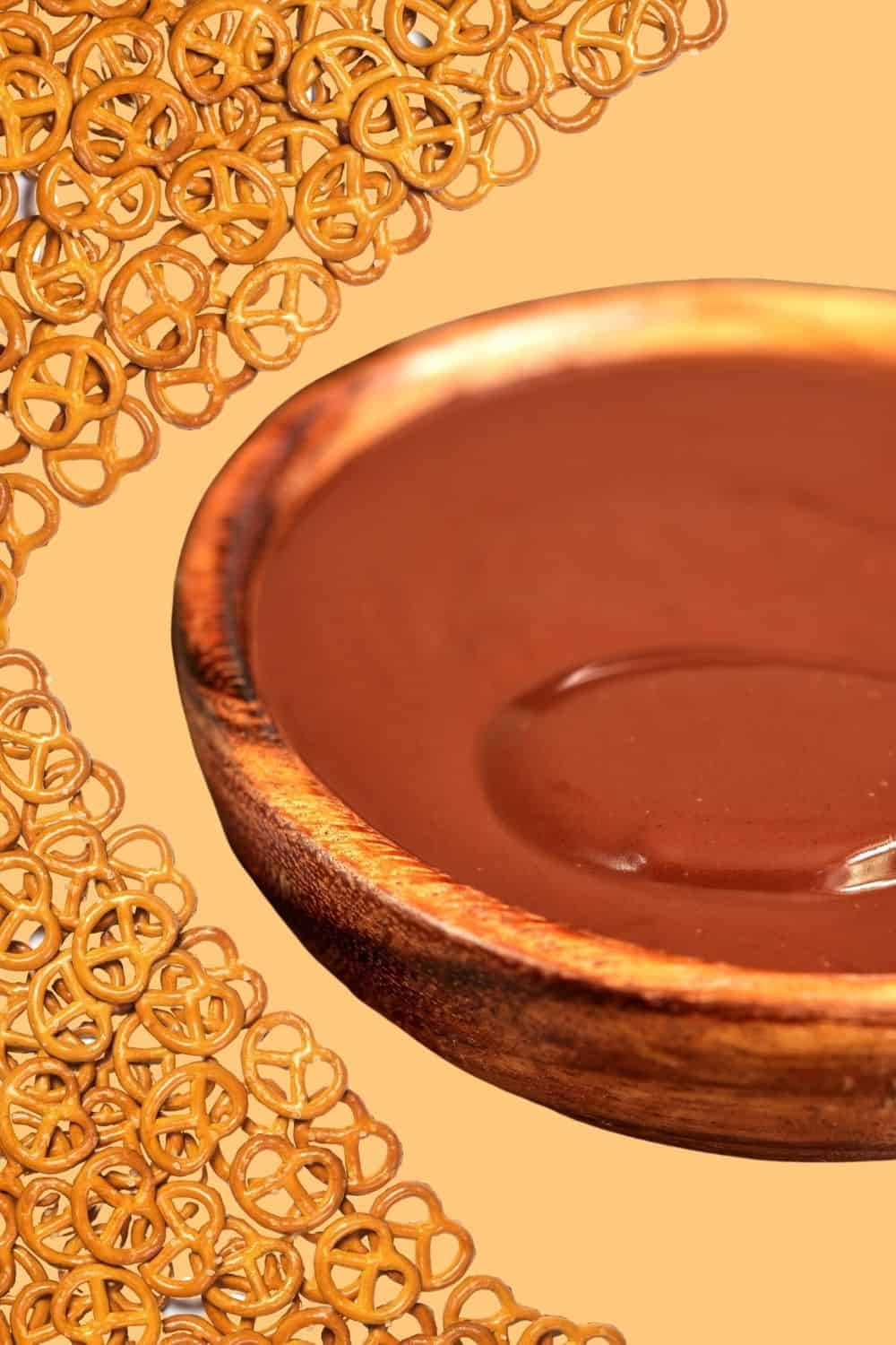 chocolate ganache for dipping with pretzels
