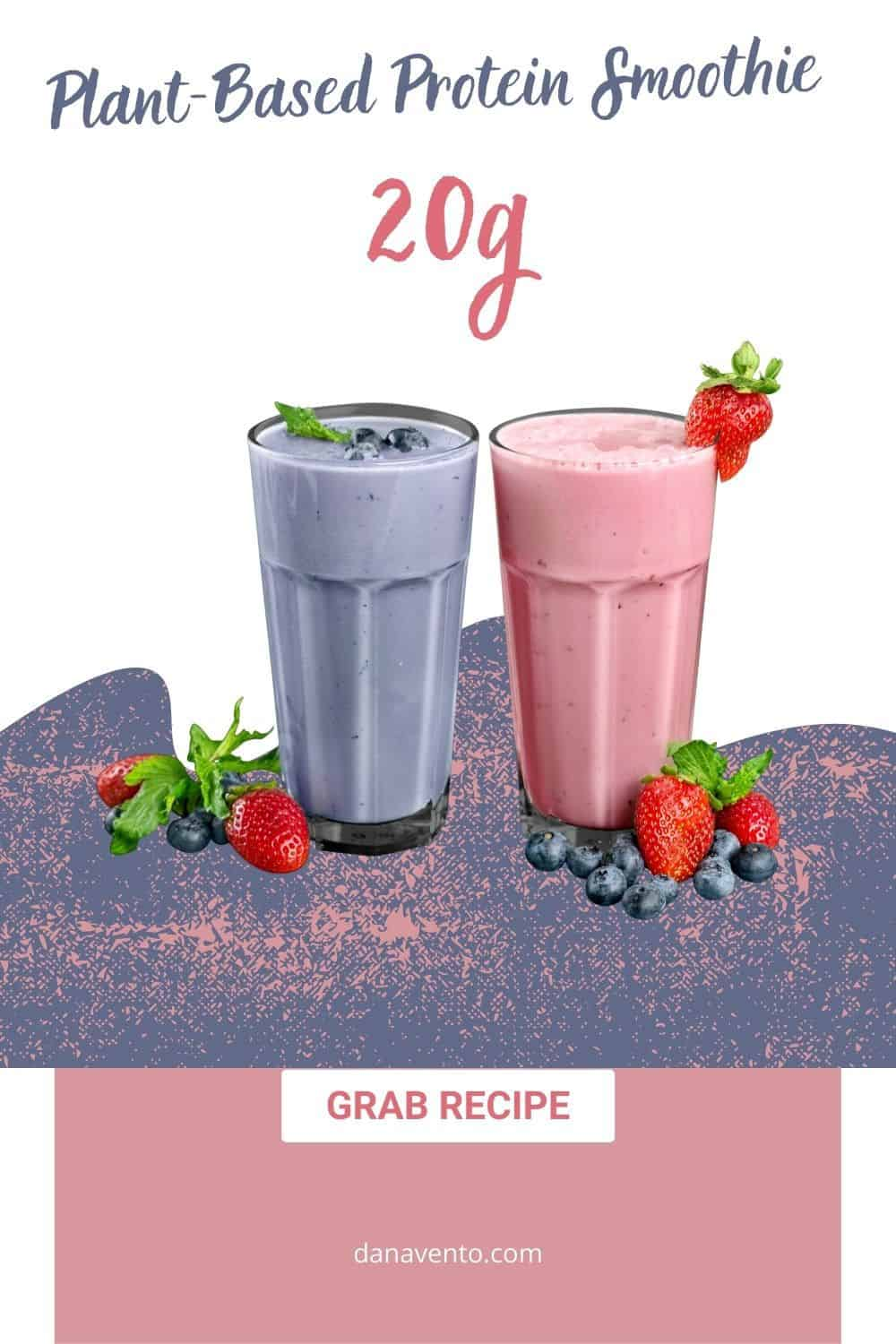 plant based protein smoothie purple and pink