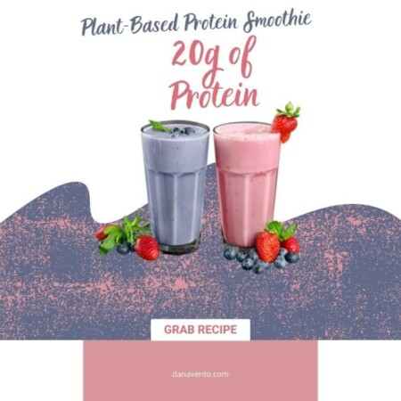 plant based protein smoothie purple and pink 20 grams of protein