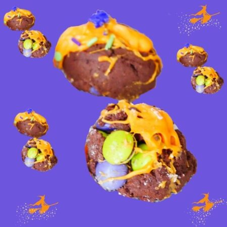 Chocolate Witch Cookie Bombs Large sets with broom spatter