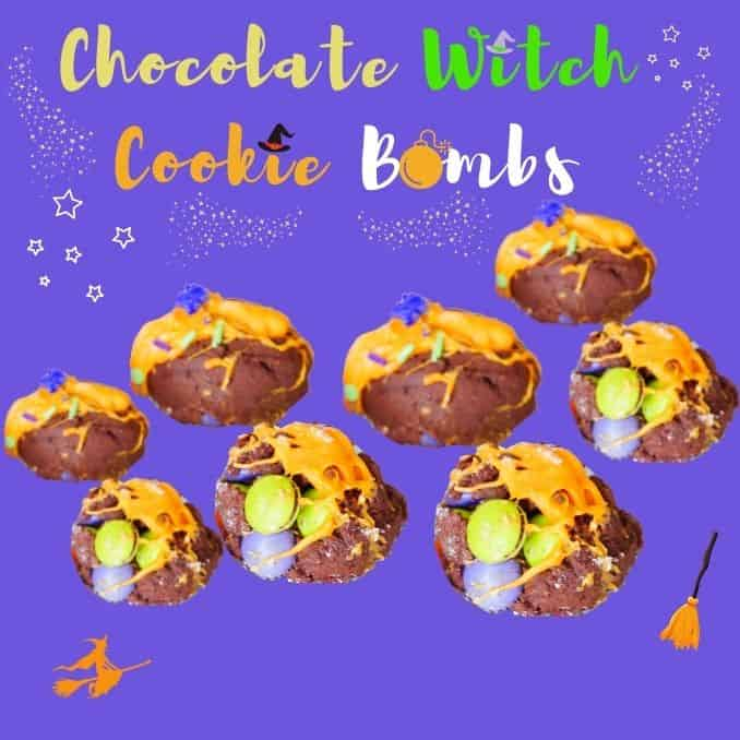 Chocolate Witch Cookie Bombs up close