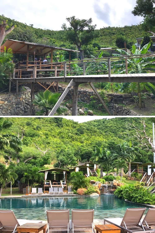 Loterie Farm walkways and poolside cabanas