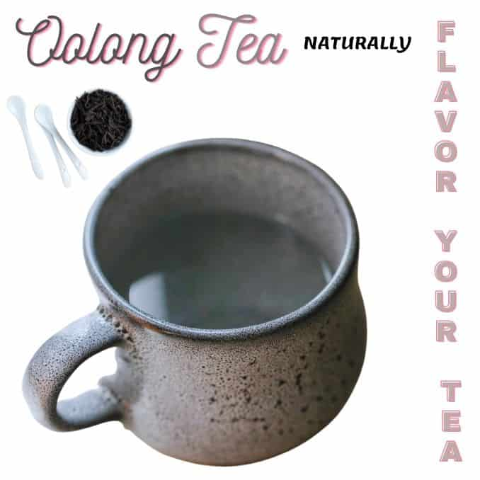 Naturally flavor oolong tea a cup and tea leaves