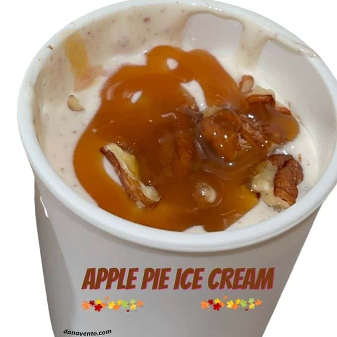 apple pie ice cream in container solo cup to be frozen