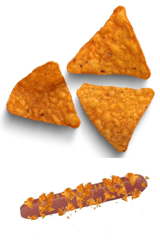 crumbled Doritos atop a hot dog