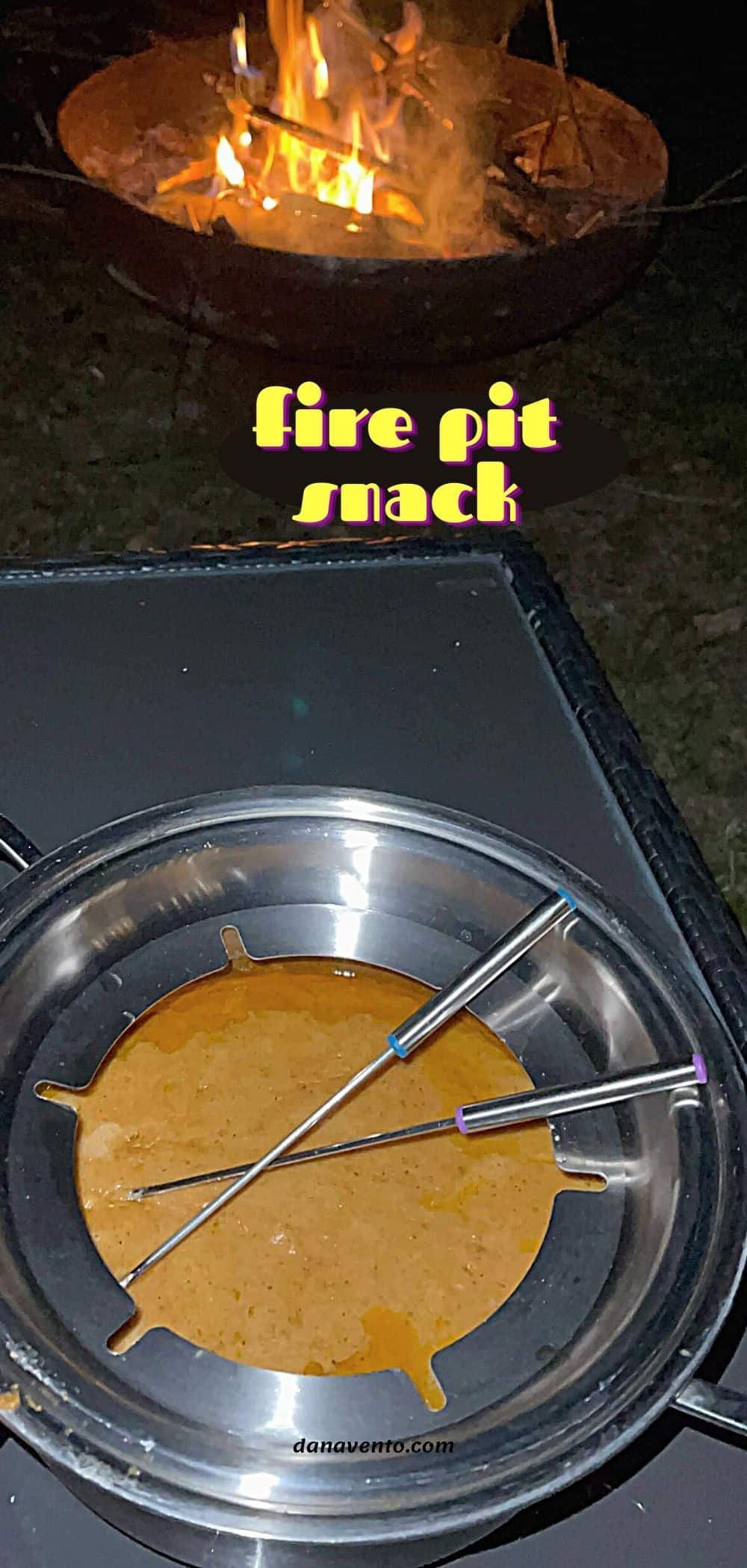fire pit snack beer cheese fondue