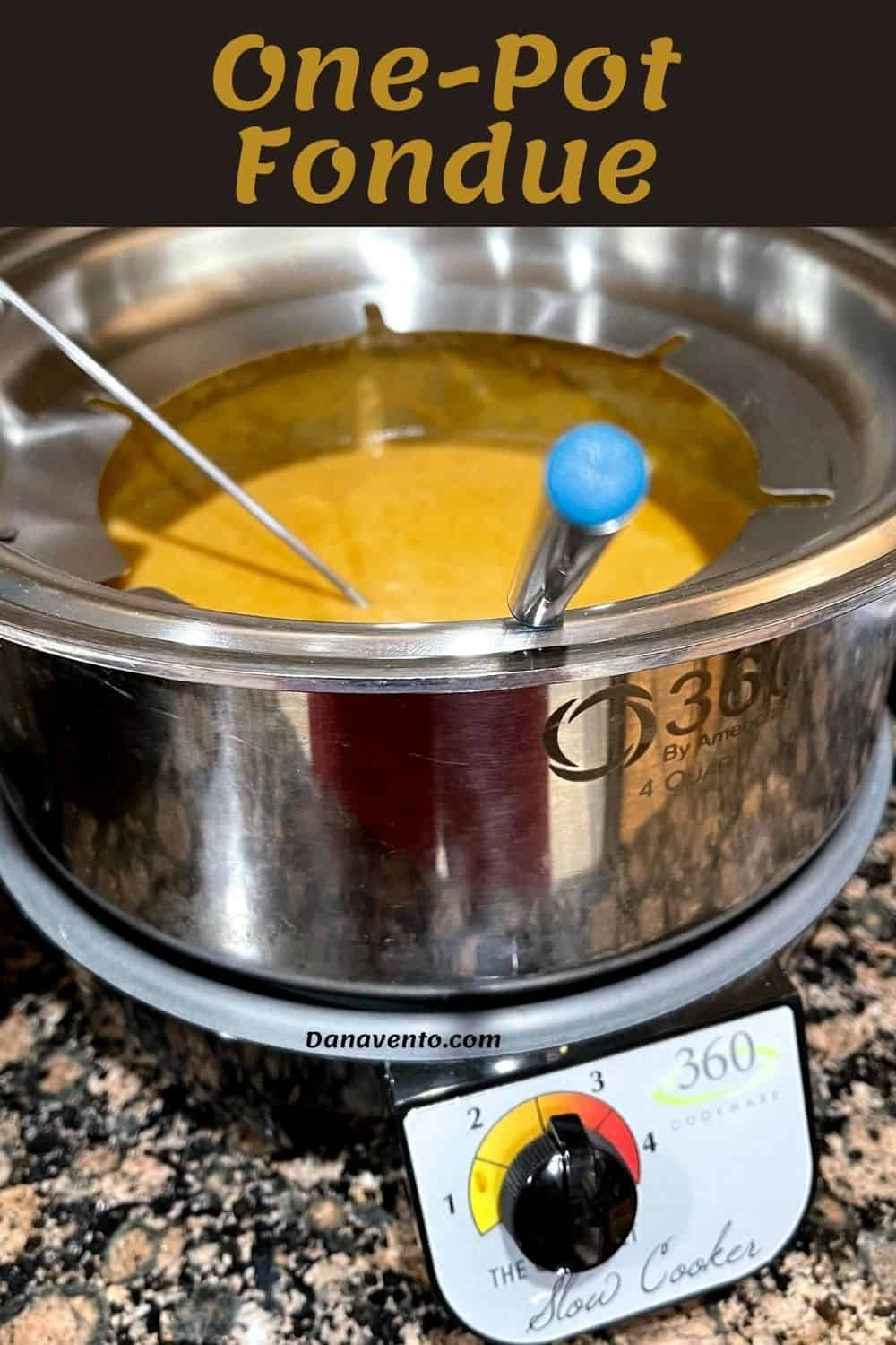 one pot fondue with beer cheese fondue  in it