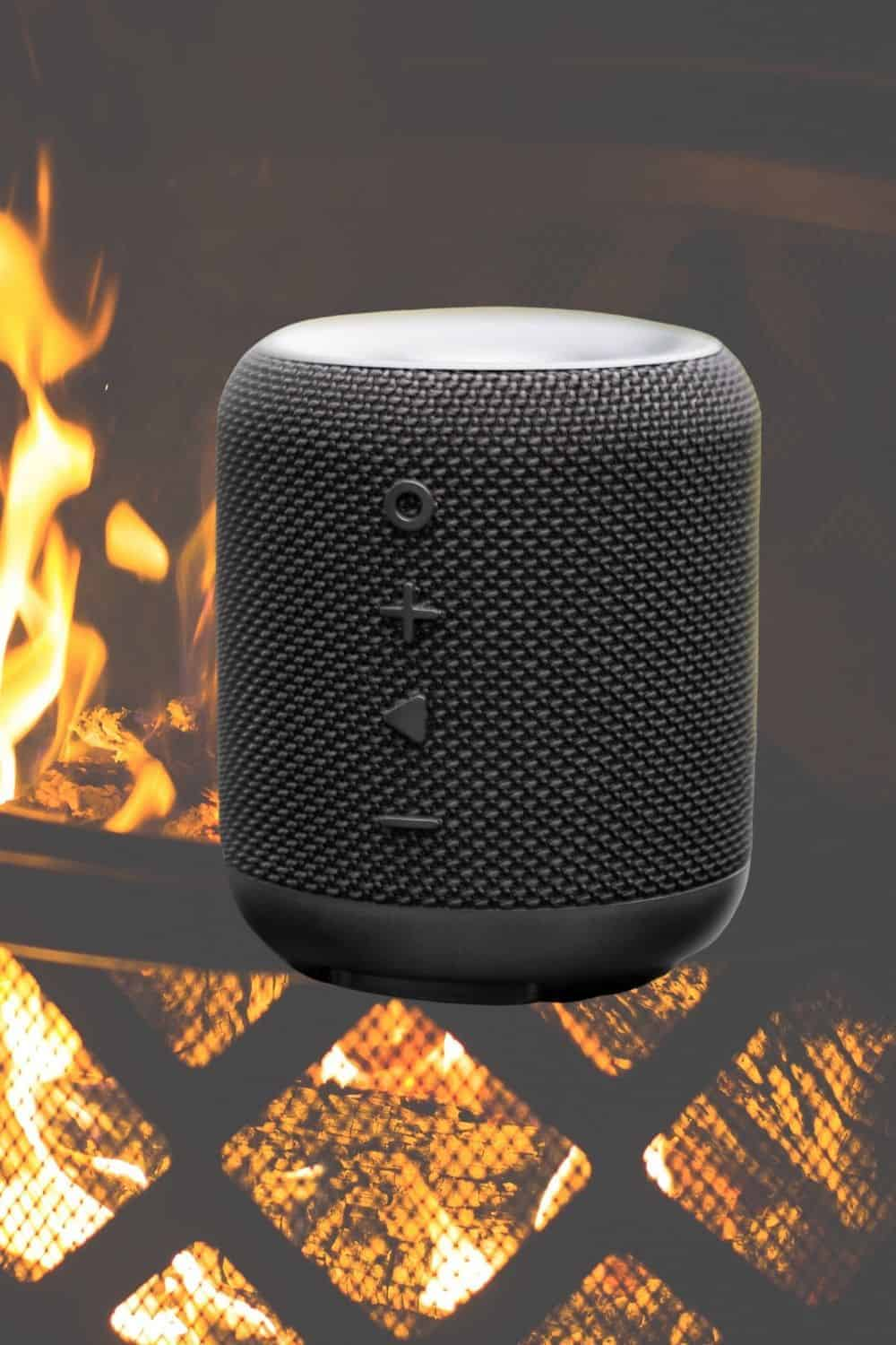 portable speaker is a useful fire pit accessory for fun