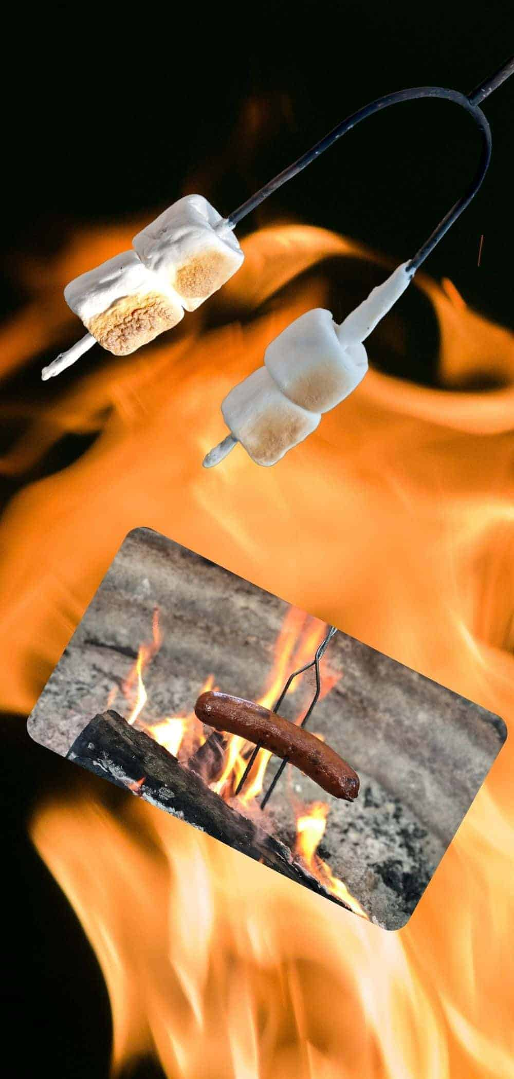 roasting hot dogs and marshmallows