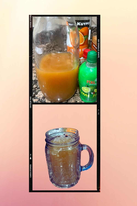 Orange alcohol being added to apple cider margarita