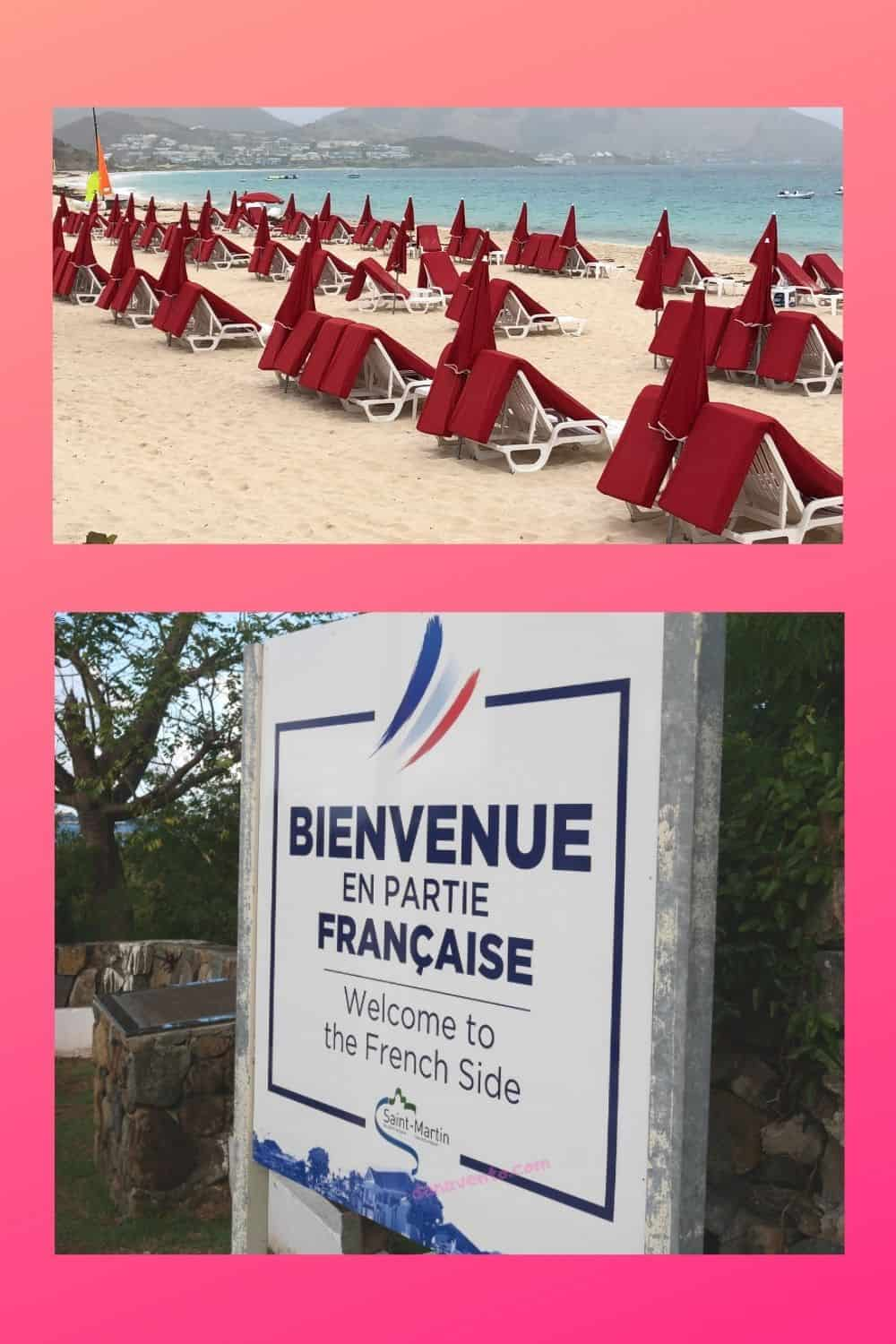 French Side of SXM beach and sign