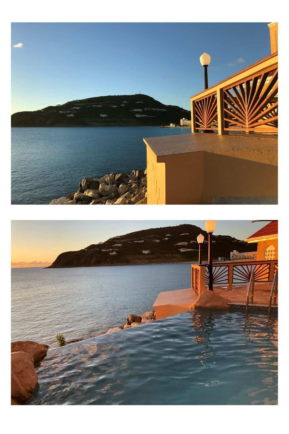 by day an by sunset Infinty pool at truly idyllic sxm resort